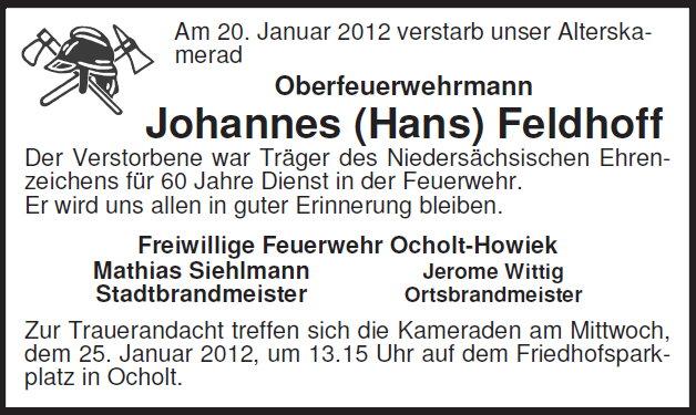 20.01.2012 - Wir trauern um unseren Alterskameraden Hans Feldhoff