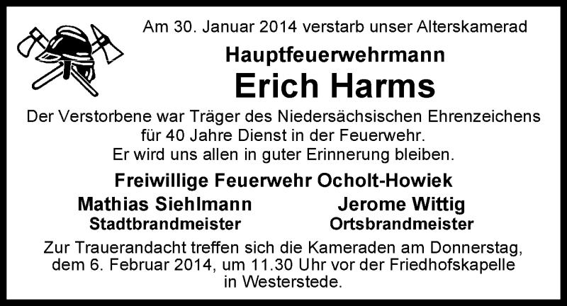 30.01.2014 – Wir trauern um unseren Alterskameraden Erich Harms